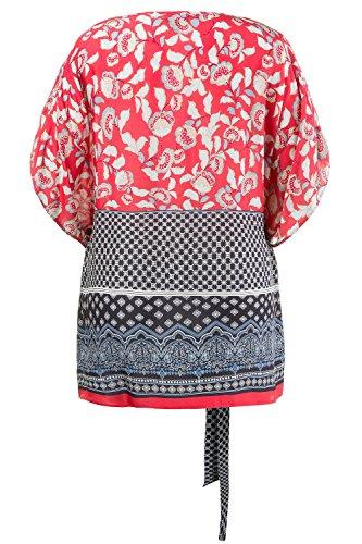 Ulla Popken Leichte Kimonobluse Mit Bordüre, Blouse Femme Multicolore