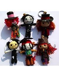 Super 6 Johnny Depp Set String Doll Keychain - Edward Scissorhands, Jack Sparrow, Mad Hatter, Willy Wonka, Sweeney Todd, Tonto