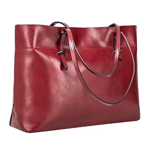Leder-handtasche Tote-schulter-handtasche (S-ZONE Damen Vintage Echtleder Tote Beutel Schultertasche Handtasche)