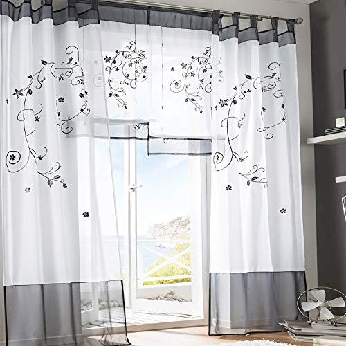 Simpvale 2 pezzi pastorale ricamo finestra tende per soggiorno e camera da letto, grigio, larghezza140cm