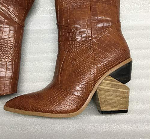 Geprägtes Leder Sandalen (MENGLTX High Heels Sandalen Geprägte Mikrofaser-Leder-Frauen-Aufladungen Westjungen-Hohe Aufladungen Klumpige Hohe Absätze Kniehohe Aufladungen Schuhe Frau 10 Braun)