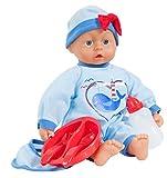 Bayer Design 9383900 - Funktionspuppe I Love You Baby mit 24 Lauten, 38 cm, hellblau
