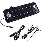 12 V 4,5 W Solarbetriebenes Kfz-Ladegerät, tragbares Solar-Ladegerät für Auto, Motorrad, Traktor, Boot, Wohnmobil-Batterien, schwarz