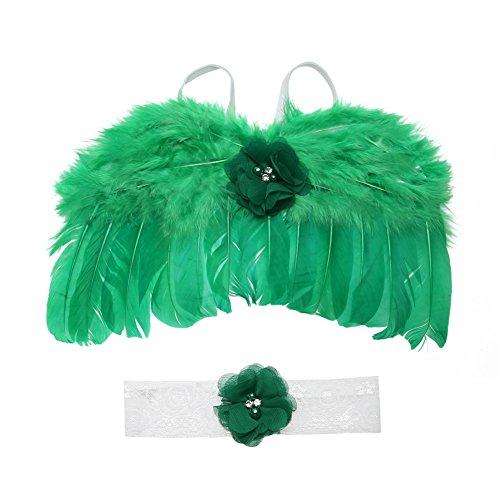 Fotorequisite Kostüm-Sets für Neugeborene Babys Jungen Mädchen Feder Engel Flügel mit Blumen Stirnbänder