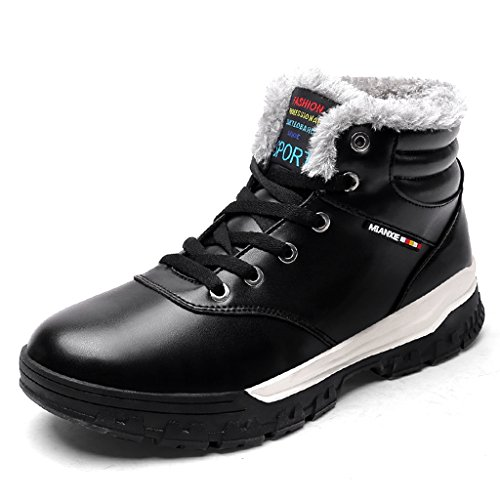 Laiwodun Men's Sneakers Snow Boots Warm Leather Fur Lined Non Slip Casual...