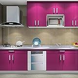 Hot Mueble de Cocina de Primera Calidad Engomada del PVC Auto Rollos de papel Pintado Adhesivo para Muebles / Cocina / Baño 0.61 * 5M Pegatinas Hoja de Guarnición / Puerta del Armario de pared de Papel, Púrpura