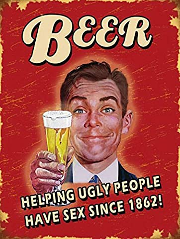 BEER HELPING UGLY PEOPLE SIGN PUB BAR MAN CAVE RETRO VINTAGE STYLE METAL TIN WALL PLAQUE SIGN NOVELTY GIFT