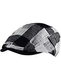c350da60725 Itzu Mens Lightweight Lumberjack Check Flat Cap Hat Curved Gatsby Golf  Black Grey