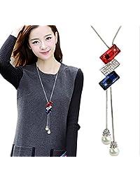 Hosaire Moda mujer La perla joya de diamantes largo cadena encantos suéter collar accesorios de la joyería