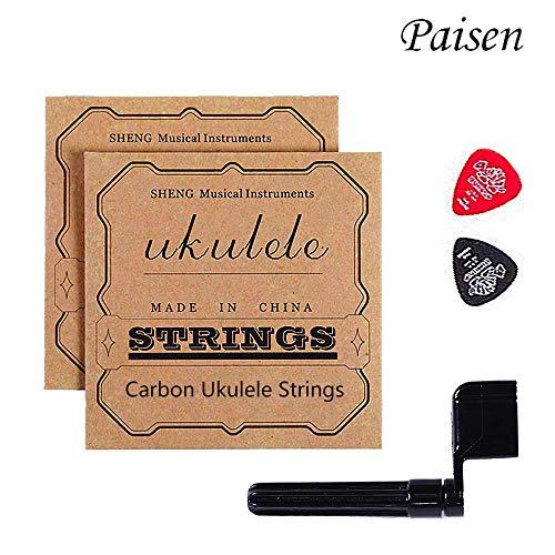Paisen Carbon Ukulele Saiten 2 Sätze mit Wickler und 2 Filzstäbchen für Ukulelen aller Größen - Qualität Ton