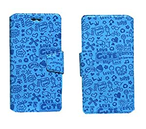 J Cover Taddy Series Leather Pouch Flip Case With Silicon Holder For Maxwest Gravity 5 LTE Blue