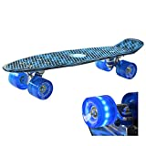 Retro Kinder Skateboard Mini Cruiser (Blau) mit LED Leuchtrolle