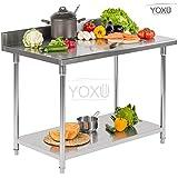 Superficie de trabajo, Mesa profesional de acero inoxidable para cocina y Catering 1800x700x850