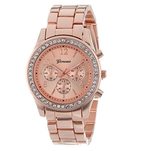 Damen Uhr Quartz Rund Faux Kristalle Chronograph Rose Gold