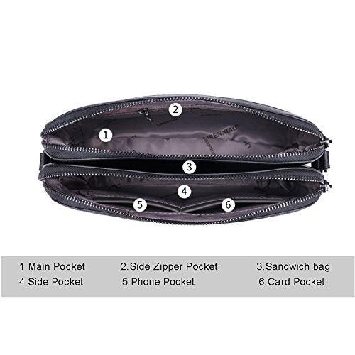 Sacchetto di busta di grande capacità della borsa multilayer di Yoome delle donne per le donne Sacchetto singolo della spalla Lady - Viola Marina Militare