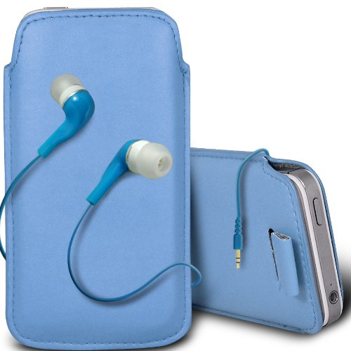 Gadget Giant iPhone 5-Bleu PU Housse protectrice en cuir assorti & Hansfree stéréo intra-auriculaires 3,5 mm