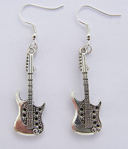 Cornwall Art Prints Silver Colour Electric Guitar Earrings, Silver Plated Hooks, 3.5cm Drop Hand Made -