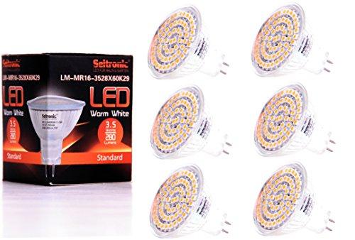 Preisvergleich Produktbild Seitronic 6er Set GU5.3 MR16 LED Lampe mit 3,5 Watt, 280LM und 60 LEDs - Warm weiß 2900K, Ersetzt 40W, Warm-Weiß - SMD LED Leuchtmittel - 110° Abstrahlwinkel [Energieklasse A+]