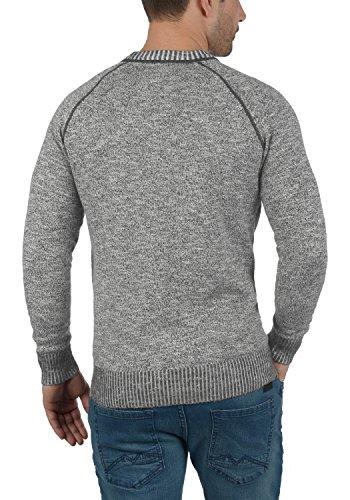 SOLID Thian Herren Feinstrick Pullover Rundhals aus 100% Baumwolle Meliert Dark Grey (2890)