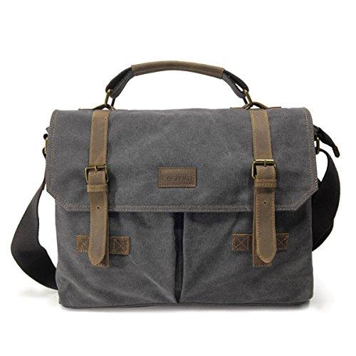 LOSMILE Herrentasche Vintage Umhängetasche Herren Schultertasche,15,6 Zoll Laptop Tasche Messenger Bag Aktentasche Arbeitstasche aus Canvas und Leder. (Grau)