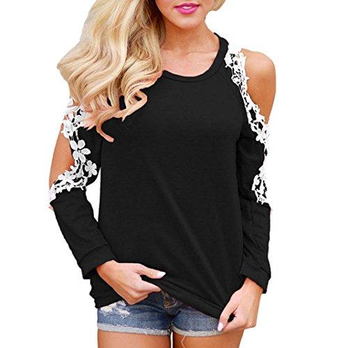 Damen Langarmshirt,,Bestop Damen T-Shirt Bluse Beiläufiges Hemd Langarm O-Ausschnitt Schulterfrei Oberteile Tops (L, Schwarz)