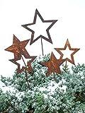 Rost - Sterne zum Stecken - 5 Stück Sortiert - Durchmesser 16cm / Länge Stab 30cm - Gartenstecker Weihnachten