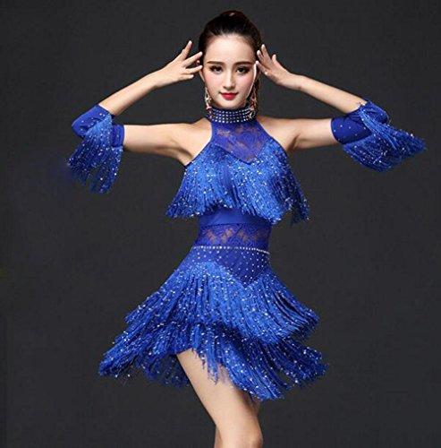 FGDJTYYJ Kostüm Latin Dance Rock Erwachsenen Frau heiß Bohren Pailletten Troddel Kleid Performance Kleidung, - Eis Tanz Kostüm