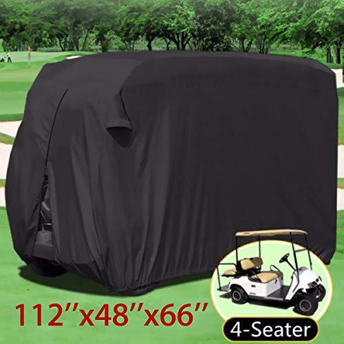 Bebling 4 Sitzer Beifahrer Golfwagen Abdeckung Lagerung Wasserdicht Staubschutz Nylon PVC Für Club Golf Buggy Zubehör Schwarz, S