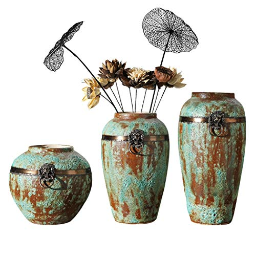 YONGYONG DREI Sätze Töpferkunst Hochtemperatur-Farbglasur, Handbemalte Kunst, Chinesische Keramik Ornamente (Size : Three-Piece Suit) -