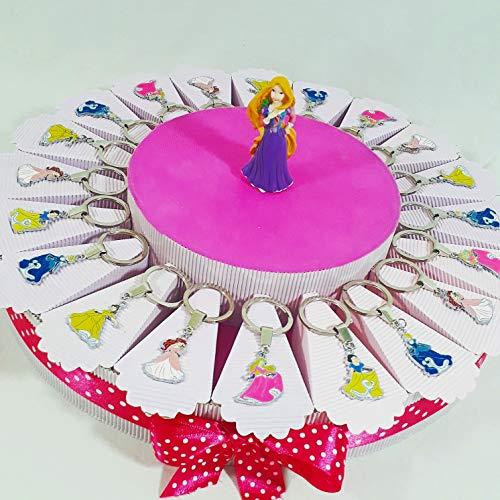 Bomboniere disney principesse portachiavi e topper per nascita compleanno battesimo (torta da 20 fette + centrale)