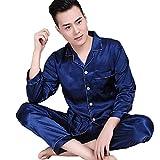Herren Zweiteiliger Schlafanzug Satin Pyjama Set, Klassische Nachtwäsche für Männer - Langarm Shirt mit Reverskragen & Lange Hose, 1 Set Blau 2XL