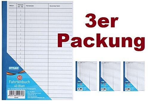 3 Fahrtenbücher DIN A5 Stylex Fahrtenbuch 40 Blatt