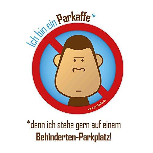 50 Wasserfeste Sticker gegen Falschparker auf Behinderten-Parkplatz, PARKAFFE Aufkleber für die Windschutzscheibe