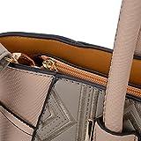 Sally Young Leather Look Stitching Shoulder Handbag Elegant Design Top Handle Fashion Handbags for Women (Grey)