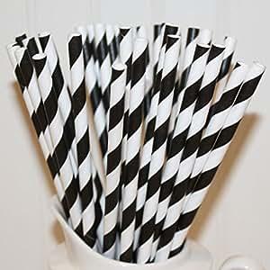 RuiChy 25Pcs Striped Paper Drinking Straws Wedding Party Decoration Black