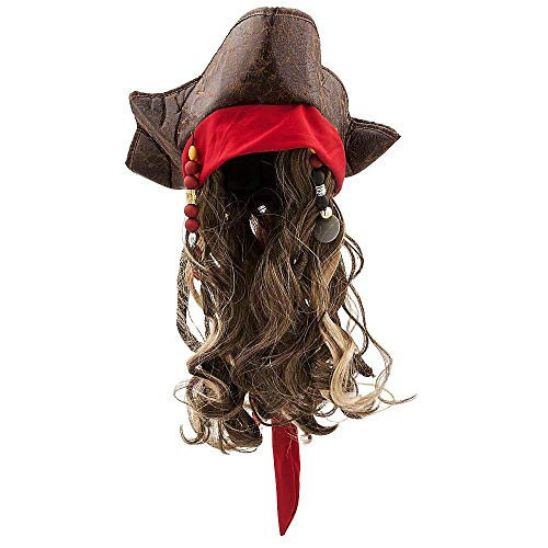 Disney Jack Sparrow Pirate Hat and Wig for Kids Pirates of The Caribbean: Dead Men Tell No Tales (Sparrow Hats Jack)