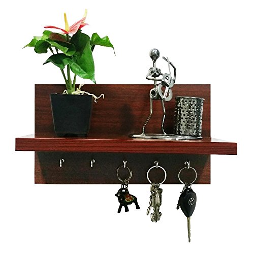 A10 Shop Omega 6 (Mahogany) Wall Mounted Decor Shelf with Key Hooks