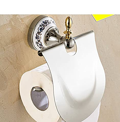 vintage Golden toilet paper holder/Blue and white porcelain and stainless steel Towel rack/Toilet roll holder/Toilet toilet paper holder-A