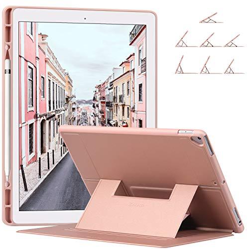 Ztotop Hülle für iPad Pro 12.9 Zoll 2017/2015 - mit Stifthalterung, mehrere Winkel Schlank leichte TPU, Geeignet Schutzhülle für iPad Pro 12,9 Zoll (A1670 / A1671 / A1584 / A1652), Roségold -