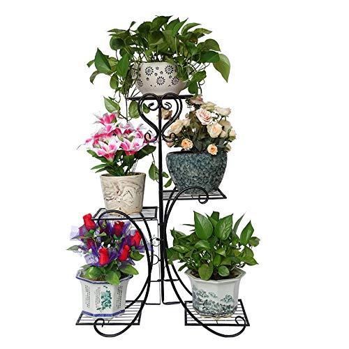 Baoffs-grfls Piantana per vasi da Fiori 4 Tiered Pot Plant Stand in Metallo da Giardino Patio in Piedi pianta Flower Pot Rack espositore Contiene 5 Vaso di Fiori Espositore da Giardino