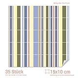 GRAZDesign 768125_15x10_70 Fliesenaufkleber Streifen - Design für Deine Kacheln | Wand-Deko für Bad/Küchen-Fliesen (Fliesenmaß: 15x10cm (BxH)//Bild: 70x70cm (BxH))