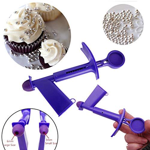 Pearl Dessert (2019 Kuchen dekorieren Werkzeug- Kunststoff-Silikon-Perle-Applikator Fondant-Kuchen Dekorierwerkzeug Perle Ball-Applikator Sugarcraft Cake Tools-Geeignet für Desserts Küche Restaurant (2PC=S+L))
