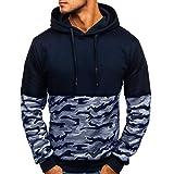 Amphia ☛Herren Camouflage Sweater - Kapuzen-Lang Arm T Shirt mit genähtem Print☚Männer Camouflage Button Pullover Langarm-Kapuzenpulli Tops Bluse