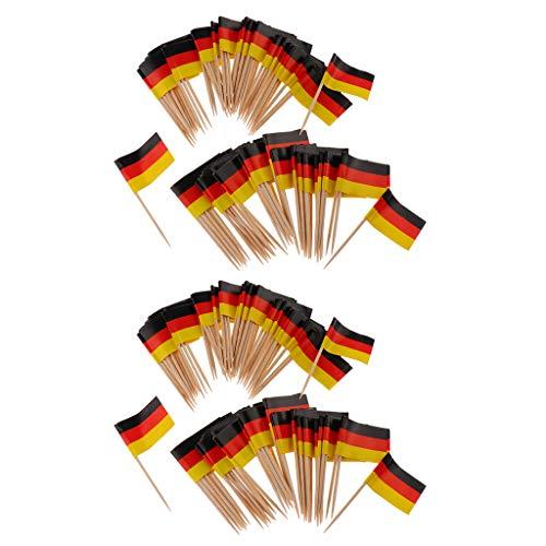 B Blesiya 200stk. Mini Flagge Cocktailstäbchen Cocktail Sticks Zahnstocher Kuchen Topper Cupcake Picks, aus Papier und Holz - 200x Deutschland - Deutschland-kuchen