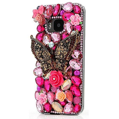 Preisvergleich Produktbild spritech (TM) Farbige Diamant mit Luxus Kristall Strass Beautiful Bling Grün Pfau Transparent Hartschale Caver Fall, style-35, HTC M9