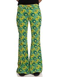 70er Jahre Muster Schlaghose grün gelb