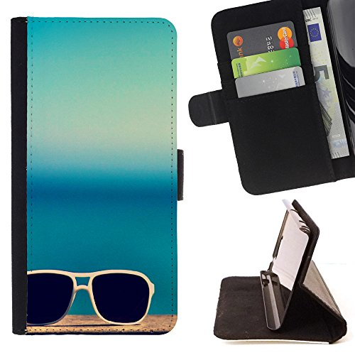 FJCases Sommer Strand Sonnenbrille Tasche Brieftasche Hülle Schale Standfunktion Schutzhülle für Samsung Galaxy J3 Emerge / Galaxy J3 Prime / Galaxy J3 Eclipse / Galaxy J3 Mission