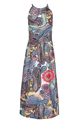 D-Pink Frauen Boho Printed Halter Strandkleid Gürtellinie Maxikleid Blau