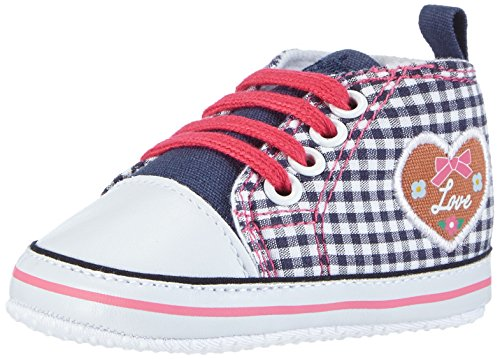 Playshoes Turnschuhe Sneaker Herzchen Love 121541, Baby Mädchen Krabbelschuhe, Blau (Marine 11), 20 EU