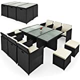 Deuba 991020 Poly Rattan Garden Furniture Set Cube Lounge Seat Group Black Foldable Outdoor Garden Dining Table Set 10 Seater